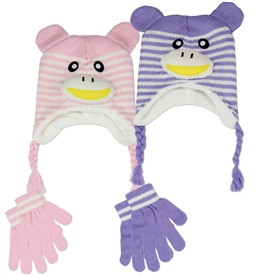 Wholesale Girls Toddler Hat+Gloves Set